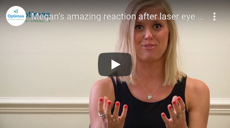 Megan's amazing reaction after laser eye surgery at Optimax